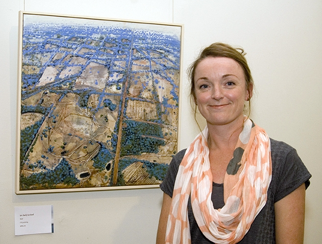 "2015 City of Albany Acquisitive Award Winner - Carly Le Cerf with her winning artwork ""Soar"" - encaustic on board."