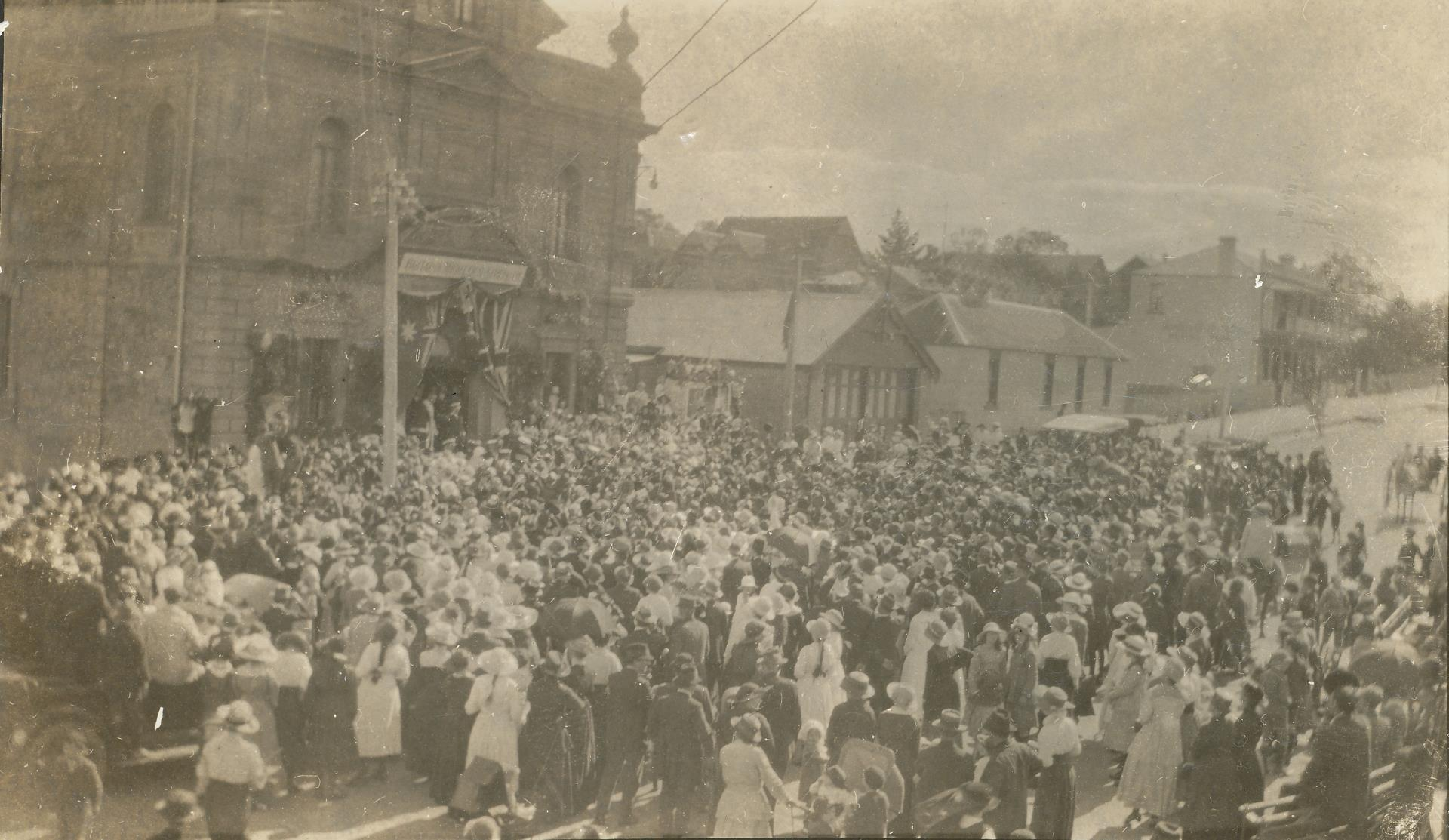 A large crowd assemble outside the Town Hall on Peace Day of the Boer War, 31st May 1902