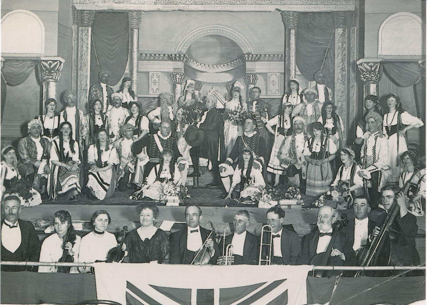 Albany Choral Society on stage at the Albany Town Hall [ca 1920]